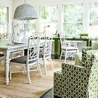 Melanie Turner Interiors - dining rooms - green, geometric, pattern, upholstered, armchairs, white, faux bamboo, dining chairs, charcoal, gray, cushions, fringe, jute, rig, white, turned leg, dining table, white, painted, woven, pendant,