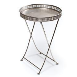 Tables - Antique Nickel Folding Tray (India) | Overstock.com - antique nickel, folding, table