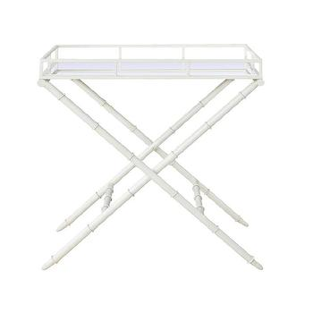 Bungalow 5 Normandy Tall Tray Table In White, Bungalow-5-nor-100-09, Candelabra, Inc.