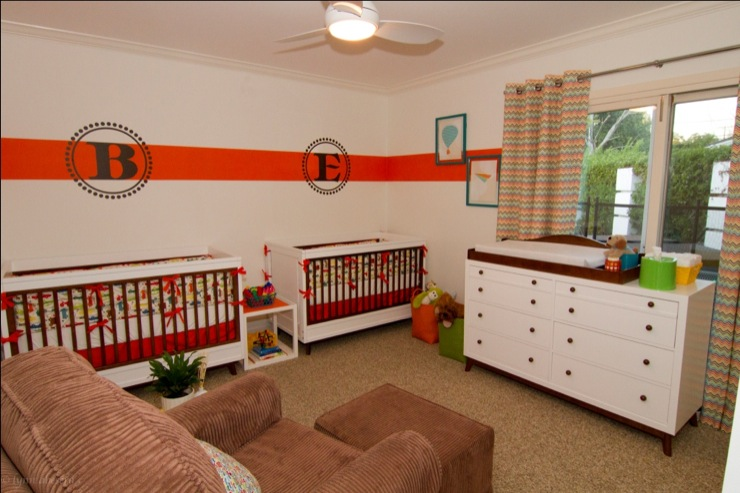 Georgette Westerman Interiors - nurseries - Dunn Edwards - White - orange, brown, monogram, decal, chevron, colorful, primary colors, nursery, twin boys, orange stripe, white wall, automobiles, vehicles, drapes, retro, Stanley Young America, colorful, nursery for twins, twin nursery,