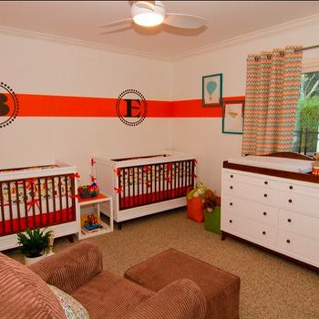 Georgette Westerman Interiors - nurseries - orange, brown, monogram, decal, chevron, colorful, primary colors, nursery, twin boys, orange stripe, white wall, automobiles, vehicles, drapes, retro, Stanley Young America, colorful, nursery for twins, twin nursery,