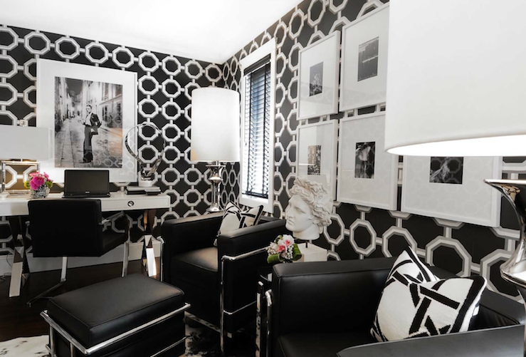 Black and white office contemporary den library office - Black and white office decor ...