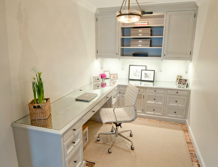 Suzie: Munger Interiors  L shaped  desk with pale gray painted cabinets and shelves, antique ...