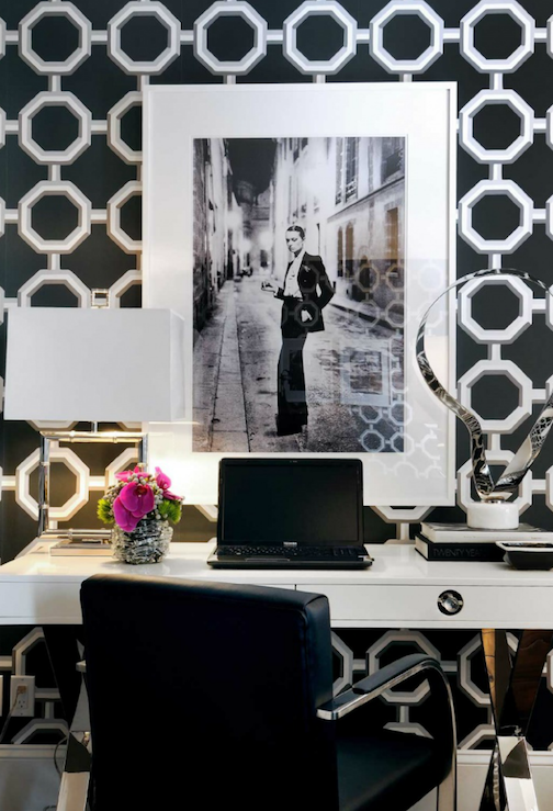 Atmosphere Interior Design - dens/libraries/offices - Jonathan Adler Channing Desk, Mies van der Rohe Brno Flat Bar Chair, Jonathan Adler Meurice Square Table Lamp, white, black, geometric, octagon, wallpaper, lacquer desk, white lacquer desk, white desk,