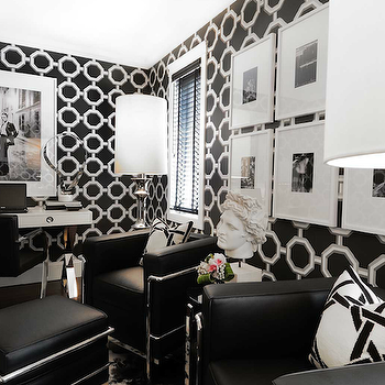 Black and White Office, Contemporary, den/library/office, Atmosphere Interior Design