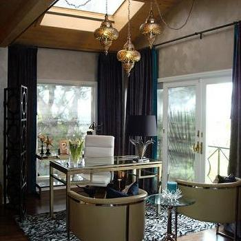 Kim Myles - dens/libraries/offices: black, quatrefoil, floor, screen, gold, glass-tio, desk, Hollywood Regency, yellow, leather, chairs, black, drapes, skylight, wood, ceiling, Moroccan, pendants, calvin taupe chair, pierced moroccan lanterns, moroccan lanterns,