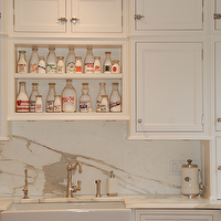 CJB Designs - kitchens - vintage, glass, milk, bottles, white, flat panel, kitchen cabinets, marble, slab, kitchen backsplash, marble, countertops, marble backsplash, marble slab backsplash, marble slab backsplash kitchen,