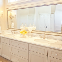 Beautiful bathroom for two! Extra double wide bathroom  cabinet vanity painted gray with ...