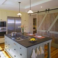 Hutker Architects - kitchens - beadboard, tray ceiling, reclaimed, wood, sliding, barn doors, yellow, shaker, kitchen cabinets, gray, blue, kitchen island, soapstone, countertops, kitchen barn doors, kitchen with barn doors,