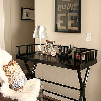Erika Brechtel - dining rooms - glossy, black, faux bamboo, desk, Indonesia, Ikea, pelt, bamboo desk, black bamboo desk, faux bamboo desk, black faux bamboo desk, Vintage Subway Sign, Ikea Tobias Chair, Jonathan Adler Pillow,