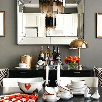 Gray Walls, Contemporary, dining room, Ralph Lauren Mombasa Mist, Erika Brechtel