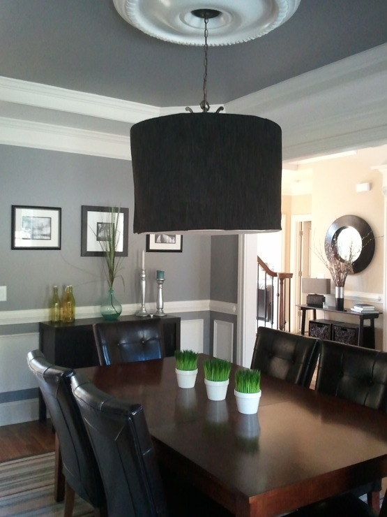 Dining room on pinterest gray dining rooms comfort gray for Dining room grey walls