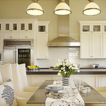DeCesare Design Group - kitchens - white, slipcovered, wingback, chairs, settee, marble, top, dining table, creamy, white, kitchen cabinets, kitchen island, granite, countertops, glossy, white, subway tiles, backsplash, country industrial pendants, Large Country Industrial Pendant,