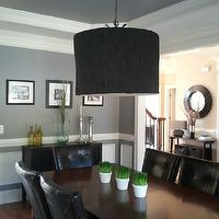 dining rooms - Martha Stewart Cement Gray, gray, pendant chandelier, buffet table, Martha Stewart paint,  Casual dining room