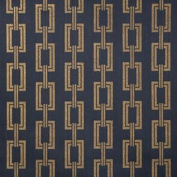 Wallpaper - Voyage Collection - Phillip Jeffries - chain links, navy blue, gold, metallic, wallpaper