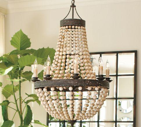 Lighting - Elena Wood Bead Chandelier | Pottery Barn - elena, wood bead, chandelier