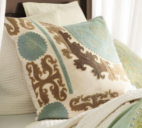 Suzani Embroidered Pillow Cover - Cool | Pottery Barn