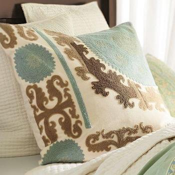 Pillows - Suzani Embroidered Pillow Cover - Cool | Pottery Barn - suzani, embroidered, pillow, cover, cool