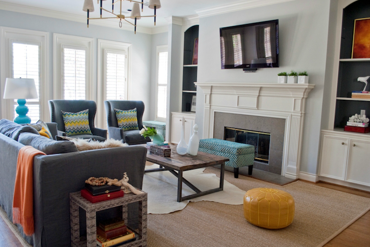 Tv Over Fireplace Transitional Living Room Sally