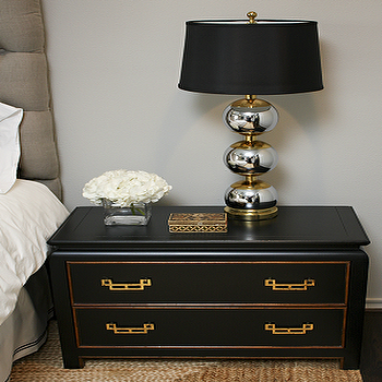 Sally Wheat Interiors - bedrooms - seagrass, rug, black, Asian, chest, nightstand, silver, stacked ball, lamp, gray, linen, tufted, headboard, black nightstand, black bedside tables,
