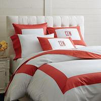 Bedding - White Solid Border Bedding | Williams-Sonoma - white, solid, border, bedding