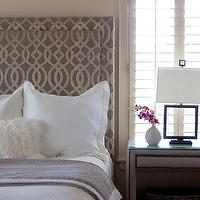 Custom headboard upholstered in Osborne & Little Fabrics Du Barry Velvet, soft purple ...