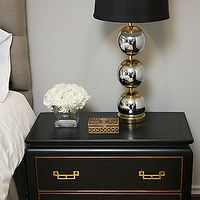 Sally Wheat Interiors - bedrooms - seagrass, rug, black, Asian, chest, nightstand, silver, stacked ball, lamp, gray, linen, tufted, headboard,