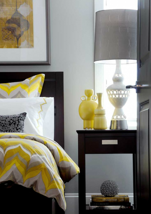 Atmosphere Interior Design - bedrooms - Grey Alexis Lamp, gray, walls, yellow, gray, duvet, shams, bedding, yellow, vases, white, lamp, gray, lamp shade, espresso, stained, contemporary, bed, nightstand, yellow and gray bedroom, gray and yellow bedroom, gray and yellow bedrooms, gray and yellow, yellow and gray bedding, yellow accents, yellow bedroom accents,