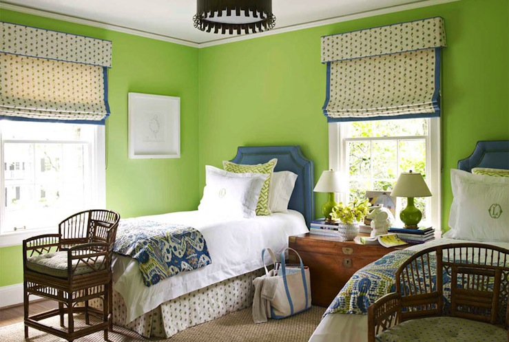 House Beautiful - girl's rooms - Benjamin Moore - Stem Green - blue, green, ikat, bedding, Granny Smith Apple, green, walls, blue, twin, headboards, nailhead trim, trunk, nightstand, glossy, green, lamps, green walls, green paint, green paint color, apple green walls, apple green paint, apple green paint color, shared bedroom, trunk nightstand, shared nightstand, blue headboard, twin blue headboard, blue and green headboard,