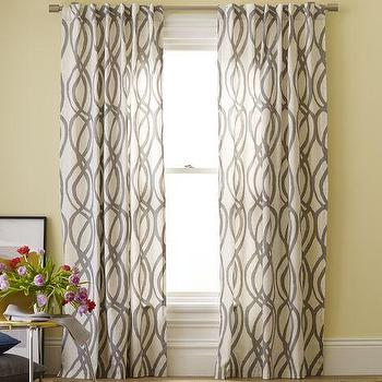 Window Treatments - Cotton Canvas Printed Window Panel - Scribble Lattice | west elm - cotton, canvas, printed panel