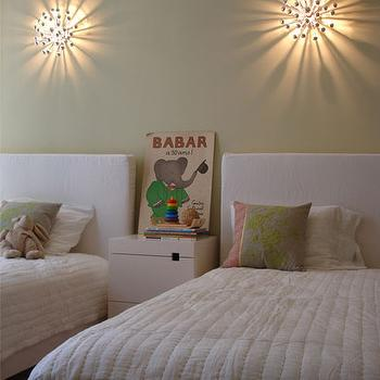 Curated - girl's rooms - sage, green, walls, white, twin, linen, headboards, green, pink, velvet, pillows, Babar, anemone sconce, shared girls room, shared girls bedroom, West Elm Square Cutout Nightstand, Robert Abbey Anemone Sconce,