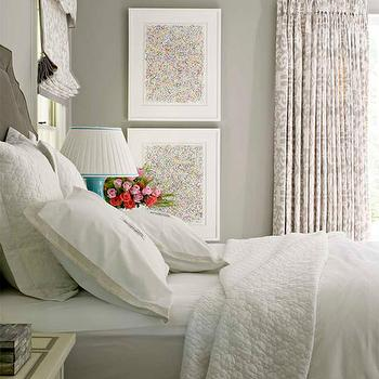 House Beautiful - bedrooms - gray, walls, charcoal, gray, velvet, headboard, white, bedding, vertical, art, white, gray, ikat, drapes, roman shade, turquoise, blue, lamp, gray bedrooms, gray paint colors, gray bedroom paint colors, gray bedrooms, gray wall, gray rooms,