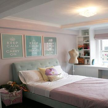 Curated - girl's rooms: pink, walls, pink, roman shade, turquoise, blue, tufted, bed, pink, storage, built-ins, turquoise headboard, turquoise blue headboard, turquoise tufted headboard, turquoise blue tufted headboard, turquoise and pink girls room, turquoise and pink girls bedroom,