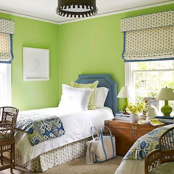 House Beautiful - girl's rooms - blue, green, ikat, bedding, Granny Smith Apple, green, walls, blue, twin, headboards, nailhead trim, trunk, nightstand, glossy, green, lamps, green walls, green paint, green paint color, apple green walls, apple green paint, apple green paint color, shared bedroom, trunk nightstand, shared nightstand, blue headboard, twin blue headboard, blue and green headboard,