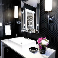 Atmosphere Interior Design - bathrooms - marble, washstand, overmount, sink, black, geometric, print, wallpaper, polished nickel, sconces, Osborne & Little Minaret Wallpaper,