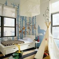 Fun boy's bedroom with teepee playhouse, tan & black striped rug, white modern twin bed ...