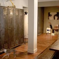 Curated - dining rooms - taupe, walls, vintage, lockers, coffee stained, dining table, bench, vintage lockers,  Eclectic dining room with vintage