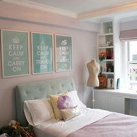 Curated - girl's rooms - pink, walls, pink, roman shade, turquoise, blue, tufted, bed, pink, storage, built-ins, turquoise headboard, turquoise blue headboard, turquoise tufted headboard, turquoise blue tufted headboard, turquoise and pink girls room, turquoise and pink girls bedroom, Keep Calm and Carry On,