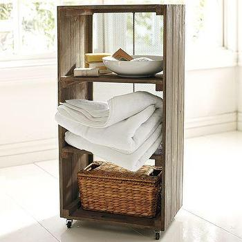Bath - Crate Reclaimed Wood Floor Storage | Pottery Barn - crate, reclaimed, wood, floor, storage