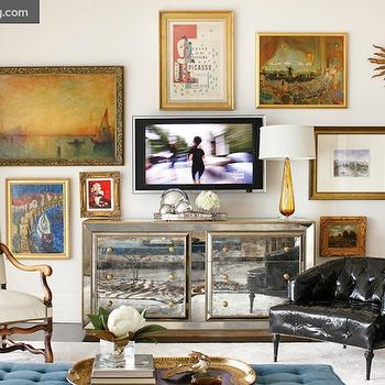 Mirrored Media Cabinet, Eclectic, living room, Atlanta Homes & Lifestyles