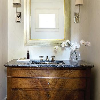 Atlanta Homes & Lifestyles - bathrooms - ivory, wallpaper, gold leaf, beveled, mirror, re-purposed, wood, single, bathroom vanity, black, marble, countertop, Hulton Sconce,