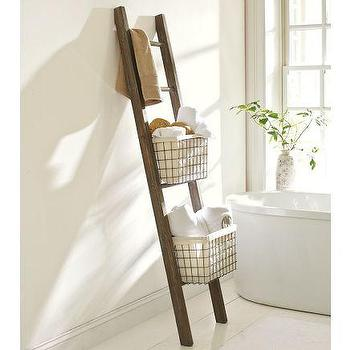Bath - Lucas Reclaimed Wood Bath Ladder Storage | Pottery Barn - lucas, reclaimed wood, bath, ladder