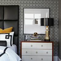Atmosphere Interior Design - bedrooms - white, black, small, print, geometric, wallpaper, black, leather, padded, headboard, yellow, velvet, pillows, white, duvet, shams, bedding, black, Greek key, ribbon trim, black, leather, Greek key, bolster, pillow, gold, mirrored, lamp, black, vinyl, lamp shade, modern, nightstand, ring, pulls, Bungalow 5 Berkeley 3-Drawer Brickfront,