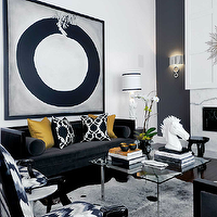Atmosphere Interior Design - living rooms - marble, fireplace, navy blue, accent wall, cowhide, rug, high-back, black, velvet, sofa, chairs, gold, silk, pillows, glossy, black, French, chairs, gold, sunburst, mirror, black sofa, velvet sofa, black velvet sofa, Thomas Paul Flock Pillow, Barcelona Coffee Table, Arteriors Lola Accent Table, Kelly Wearstler Flair Fabric - Noir,