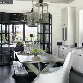 Atlanta Homes & Lifestyles - kitchens - glass, folding doors, gray, painted, dining table, rustic, bench, industrial, stool, white, slipcovered, captain, dining chairs, white, shaker, kitchen cabinets, lanterns, gray dining table, grey dining table, x base dining table, x dining table, gray x dining table, gray x base dining table,