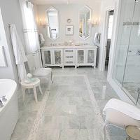 Sarah Richardson Design - bathrooms - light, gray, walls, marble, tiles, floor, mosaic, marble, inset tiles, freestanding, oval, tub, frameless glass shower, antique, mirror, double, bathroom vanity, cabinet, white, mirrors, mirrored double vanity,