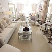 Sarah Richardson Design - living rooms - Para Paints - Gown - white, gray, ikat, upholstered, chairs, polished nickel, glass, coffee table, wheels, ivory, sofa, chairs, purple, pillows, abstract, art,