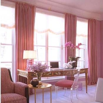 living rooms - living room, pink curtains, pink drapes, pink window panels, lucite chair, lucite desk chair,  writing desk