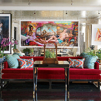 living rooms - red sofa, red velvet sofa, floor to ceiling mirror, floor to ceiling antiqued mirror, turquoise pillows,  red sofa