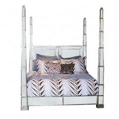 Beds/Headboards - Dynasty Mirrored Four Poster Bed | Vielle and Frances - dynasty, mirrored, four, poster, bed